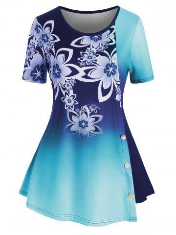 Plus Size Ombre Floral Tunic Top - NAVY BLUE - 5X