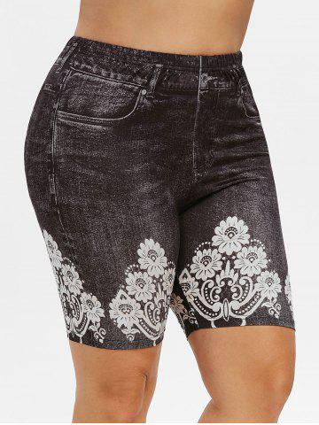 Plus Size High Rise 3D Jean Print Shorts - ASH GRAY - 5X
