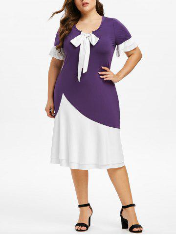 Plus Size Bow Tie Colorblock Midi Dress - PURPLE IRIS - L