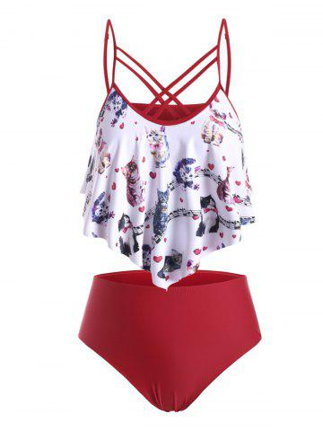 Plus Size Crisscross Cat Musical Notes Print Tankini Swimwear - RED WINE - L
