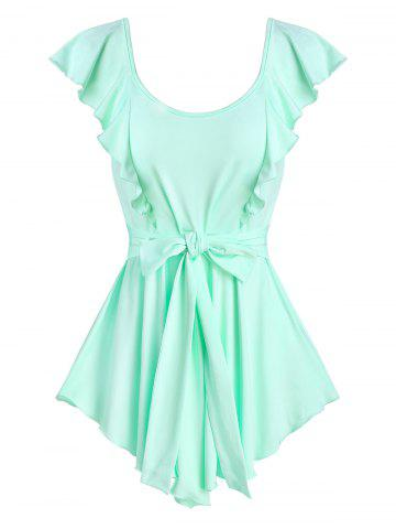 Pointed Hem Ruffle Detail Knotted Tank Top