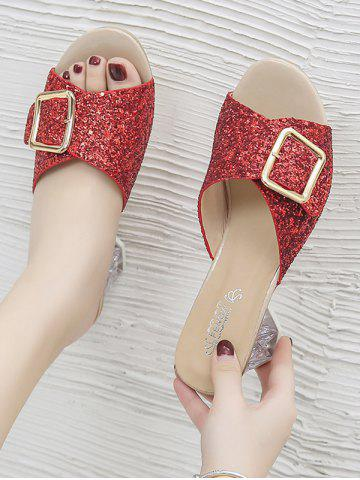 Glitter Sequins Buckled Clear Heel Slides - CHESTNUT RED - EU 40