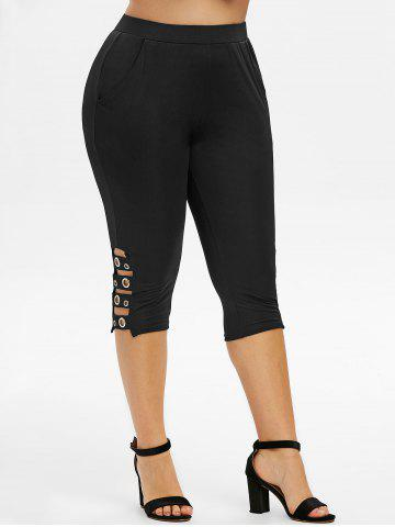 Plus Size Cutout Eyelet Capri Leggings