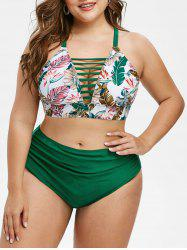 High Waisted Leaves Print Criss Cross Plus Size Bikini Swimwear -