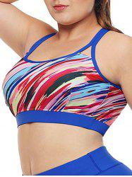Colorful Printed Racerback Plus Size Sports Bra -