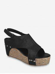 Cut Out Slingback Wedge Heel Shoes -