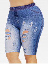 Plus Size 3D Destroyed Jean Print High Rise Shorts -