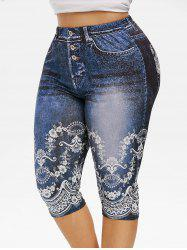 Plus Size 3D Floral Print Capri Jeggings -