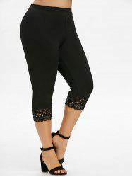 Plus Size Lace Crochet Capri Leggings -