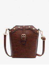 Animal Embossed Buckled Leather Bucket Bag -