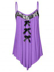 Lace Panel Plus Size Bowknot Embellished Cami Top -