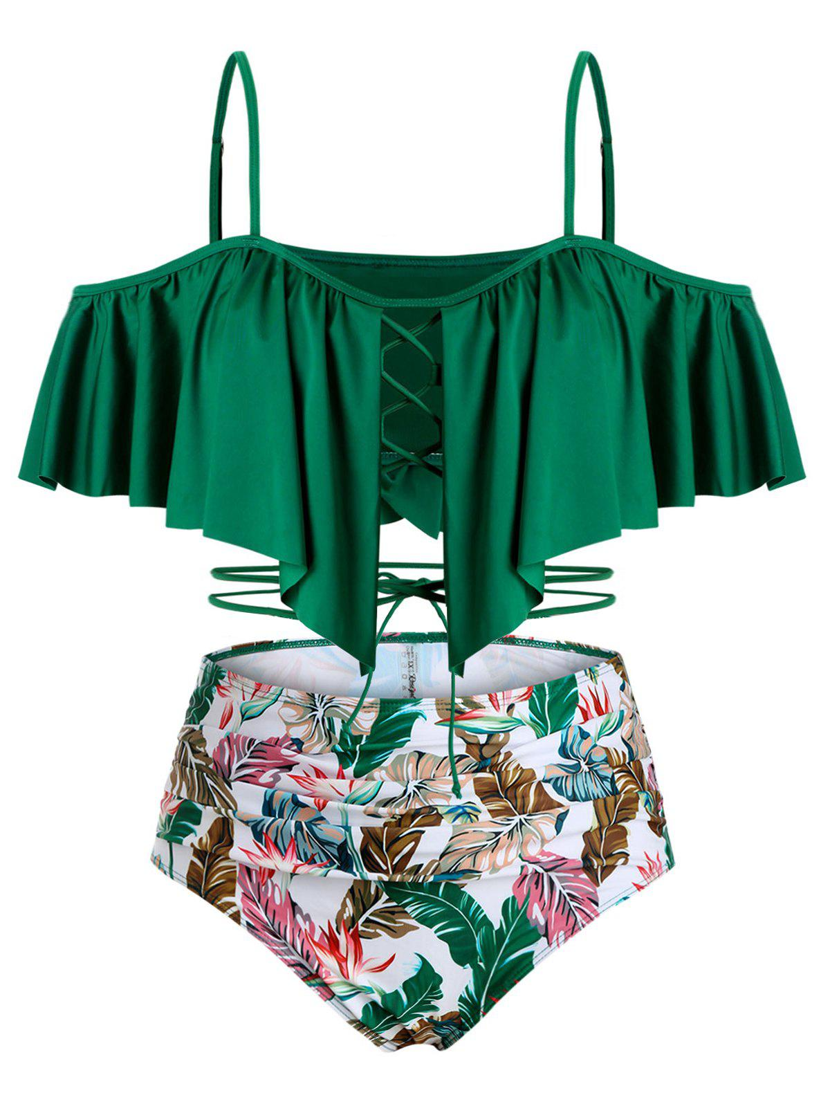 Affordable Lace Up Cold Shoulder Leaves Print Plus Size Tankini Swimwear
