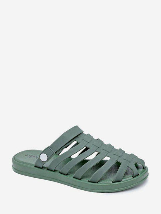 Fancy Pure Color Beach Flat Caged Slides