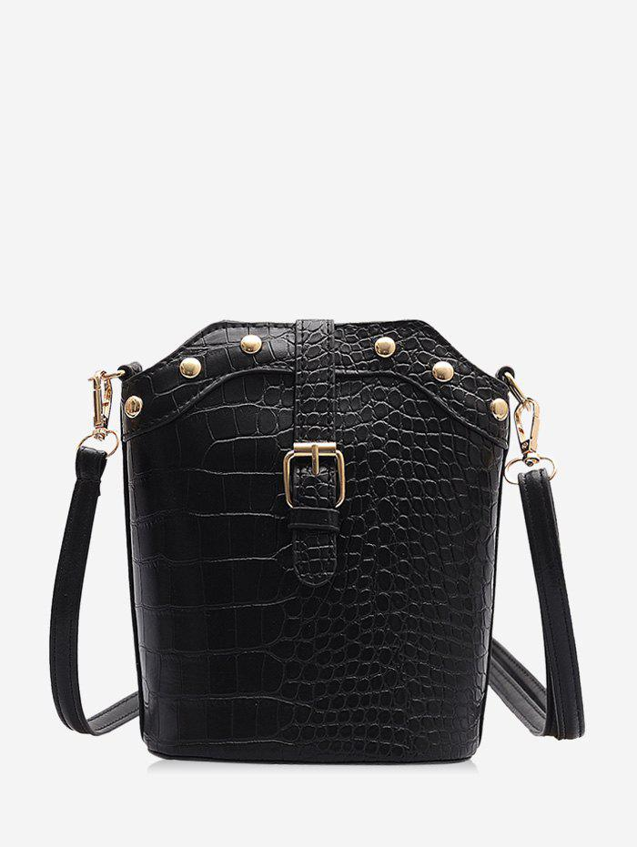 Chic Animal Embossed Buckled Leather Bucket Bag