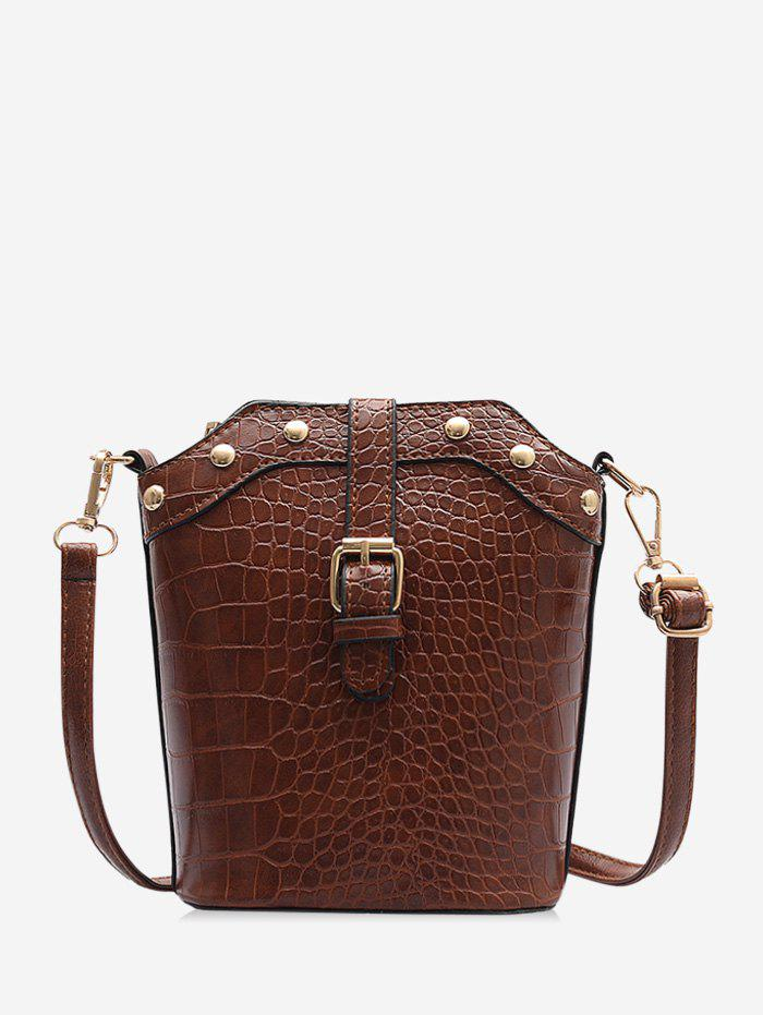 Buy Animal Embossed Buckled Leather Bucket Bag
