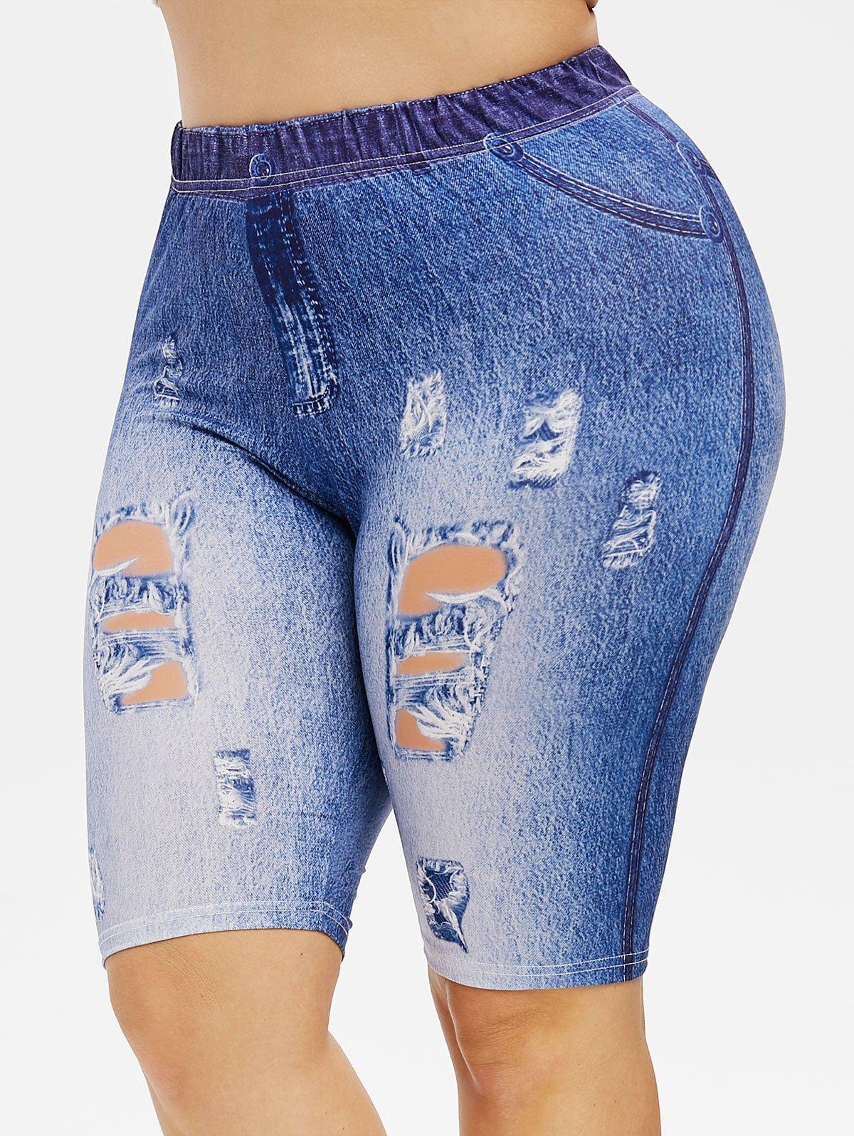 Best Plus Size 3D Destroyed Jean Print High Rise Shorts