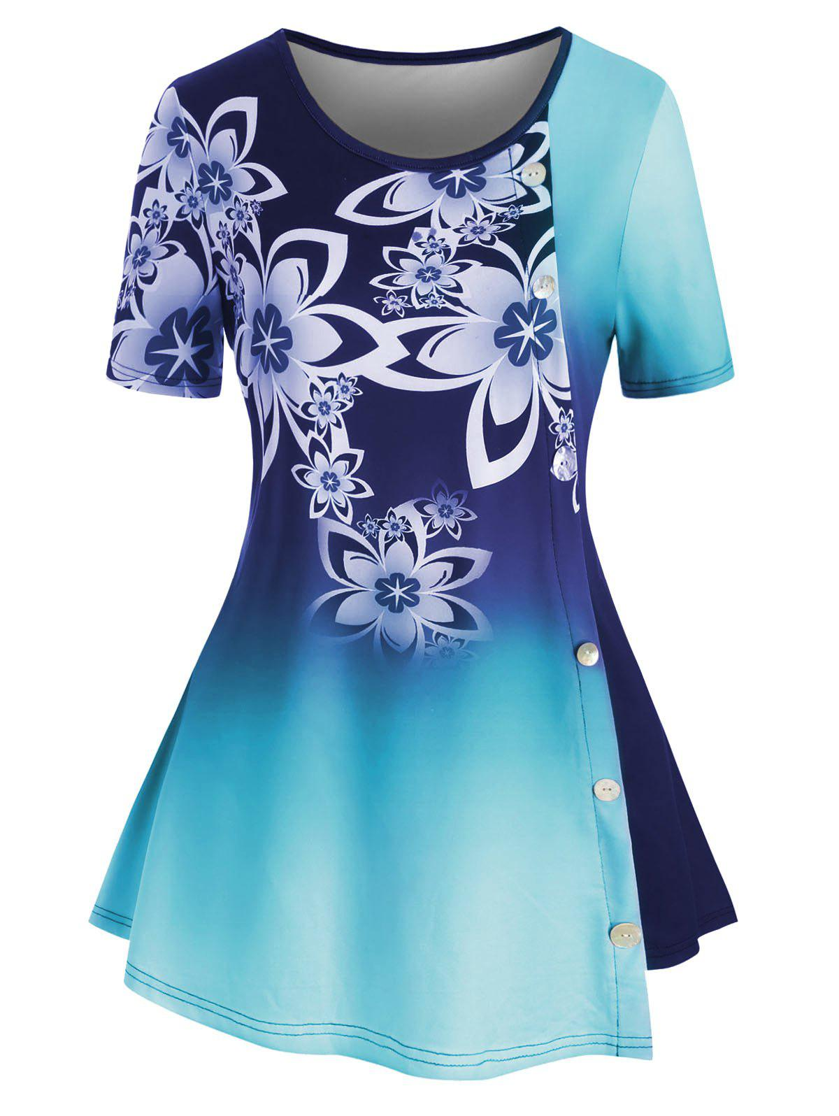 Outfits Plus Size Ombre Floral Tunic Top