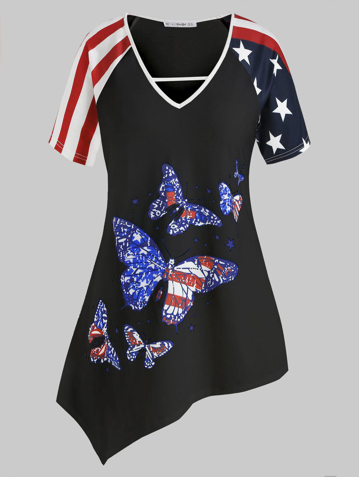 Discount Plus Size American Flag Butterfly Print Asymmetrical Tunic