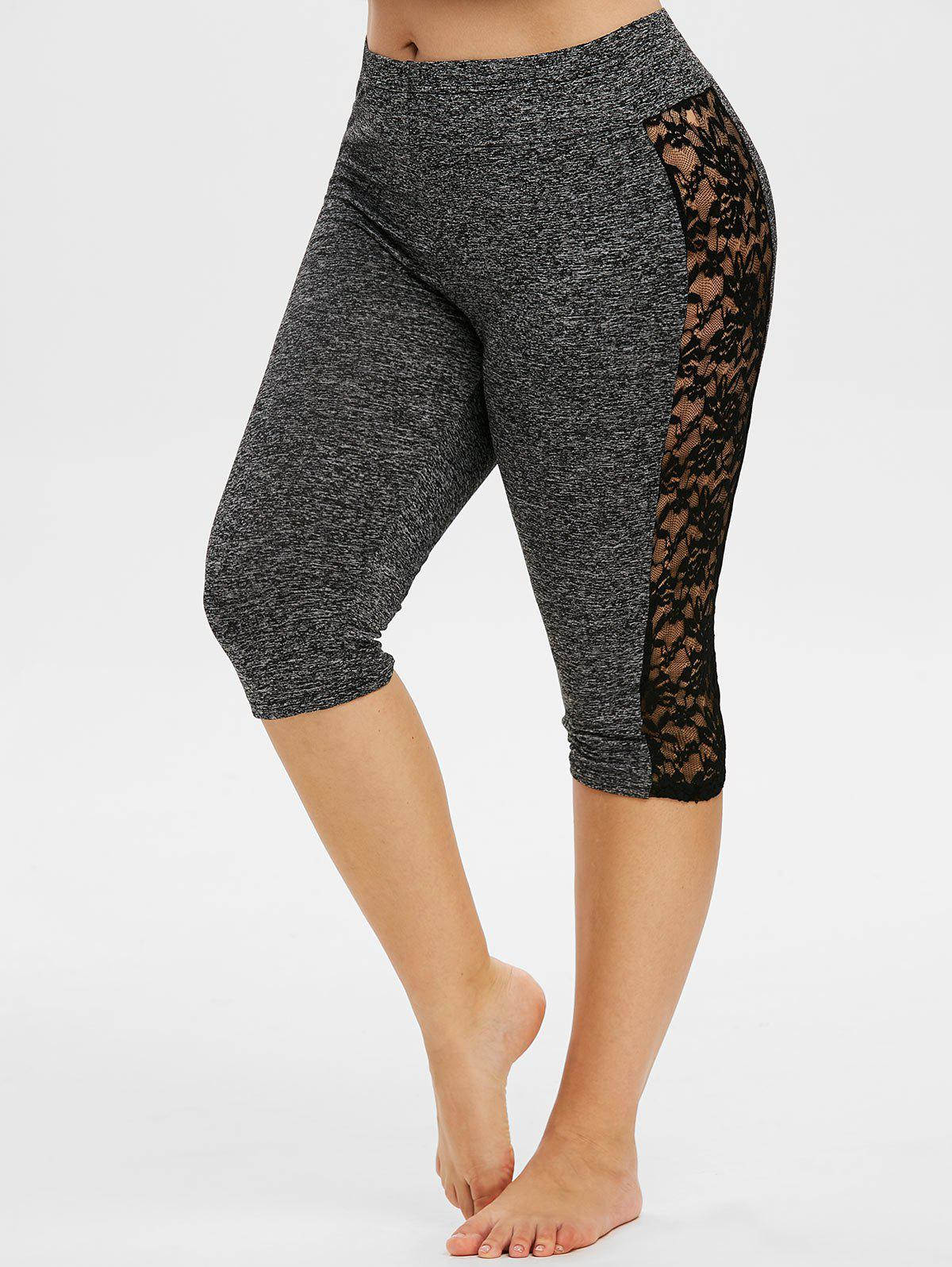 Affordable Space Dye Lace Panel Knee Length Plus Size Leggings