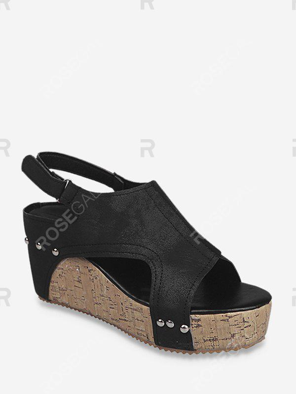 Cheap Cut Out Slingback Wedge Heel Shoes
