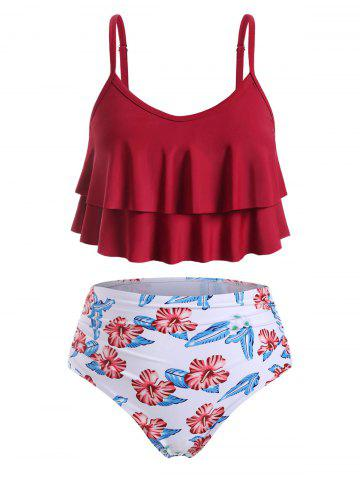 Ruched High Waisted Layered Flounces Floral Plus Size Tankini Swimsuit
