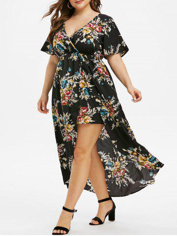 Plus Size Floral Print Bell Sleeve High Low Maxi Dress - BLACK - 1X