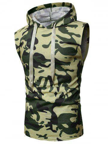 Camouflage Print Back Zip Hooded Tank Top - ARMY GREEN - 2XL