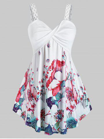 Plus Size Twisted Floral Print Tank Top