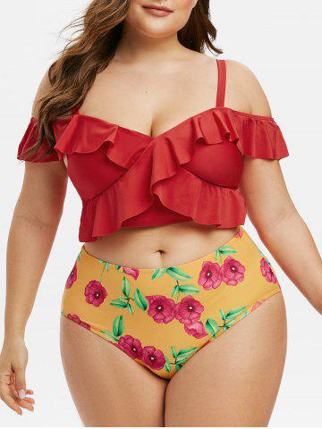 Plus Size Floral Print Ruffle Two Piece Swimwear - RED - 2X