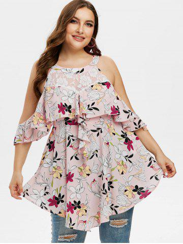Plus Size Floral Printed Lace Panel Cold Shoulder Blouse
