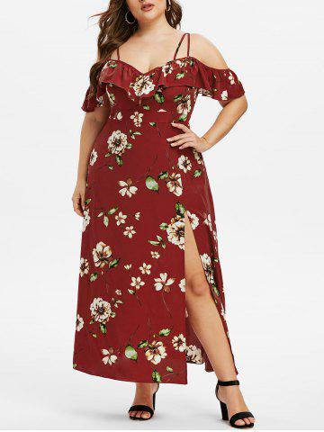 Plus Size Cold Shoulder Ruffled High Slit Floral Dress - RED WINE - L