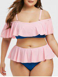 Plus Size Cold Shoulder Ruffled High Rise Two Piece Swimsuit -