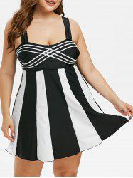 Plus Size Colorblock Empire Waist Tankini Swimwear -