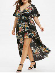 Plus Size Floral Print Bell Sleeve High Low Maxi Dress -