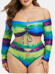 Plus Size Tie Dye Lace-up Off The Shoulder Two Piece Swimsuit -