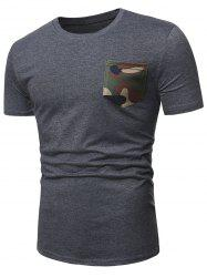 Camo Pocket Short Sleeve Casual T Shirt -