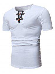 Half Horn Button Casual Short Sleeve T Shirt -