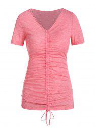 Short Sleeve Cinched Heathered T-shirt -