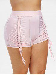 Plus Size Topstitching Cinched Shorts -
