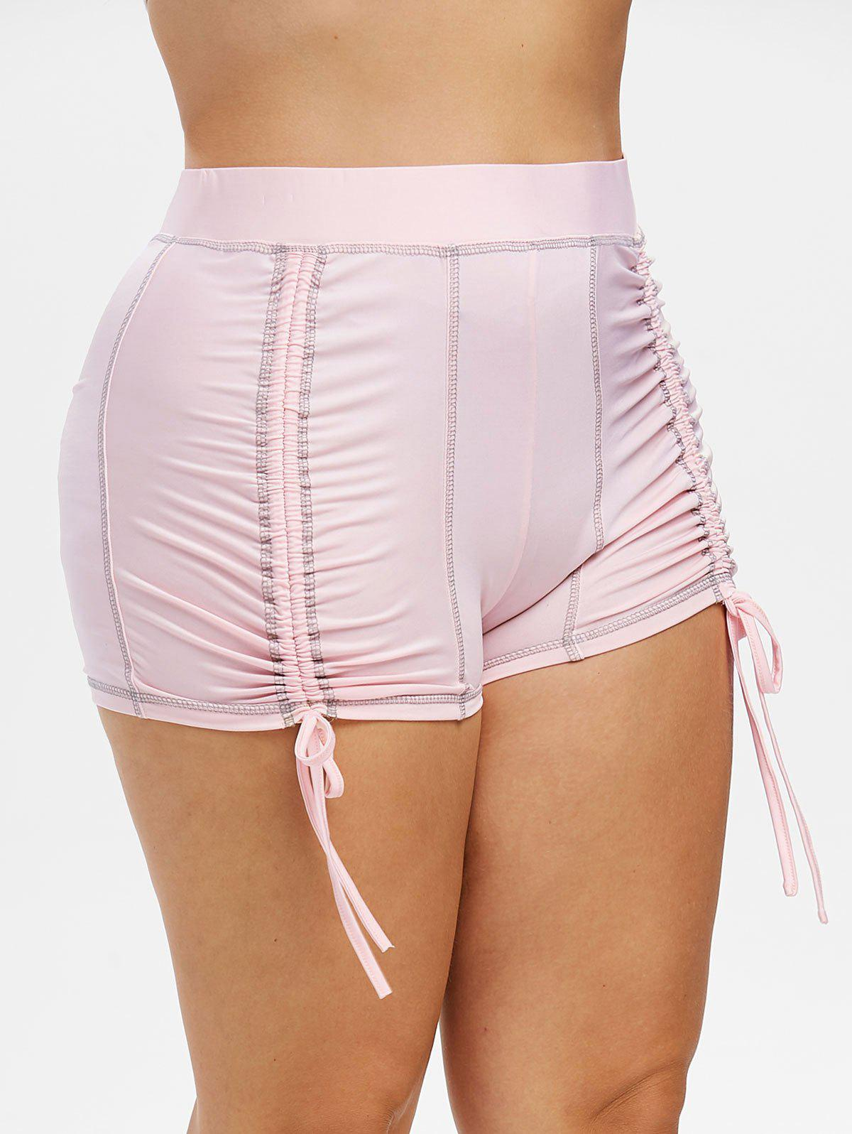 Buy Plus Size Topstitching Cinched Shorts