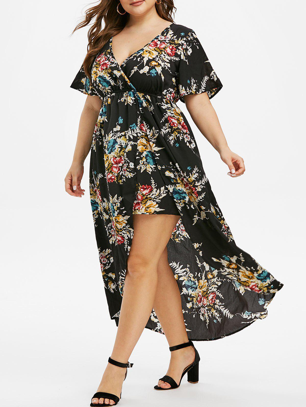 Trendy Plus Size Floral Print Bell Sleeve High Low Maxi Dress