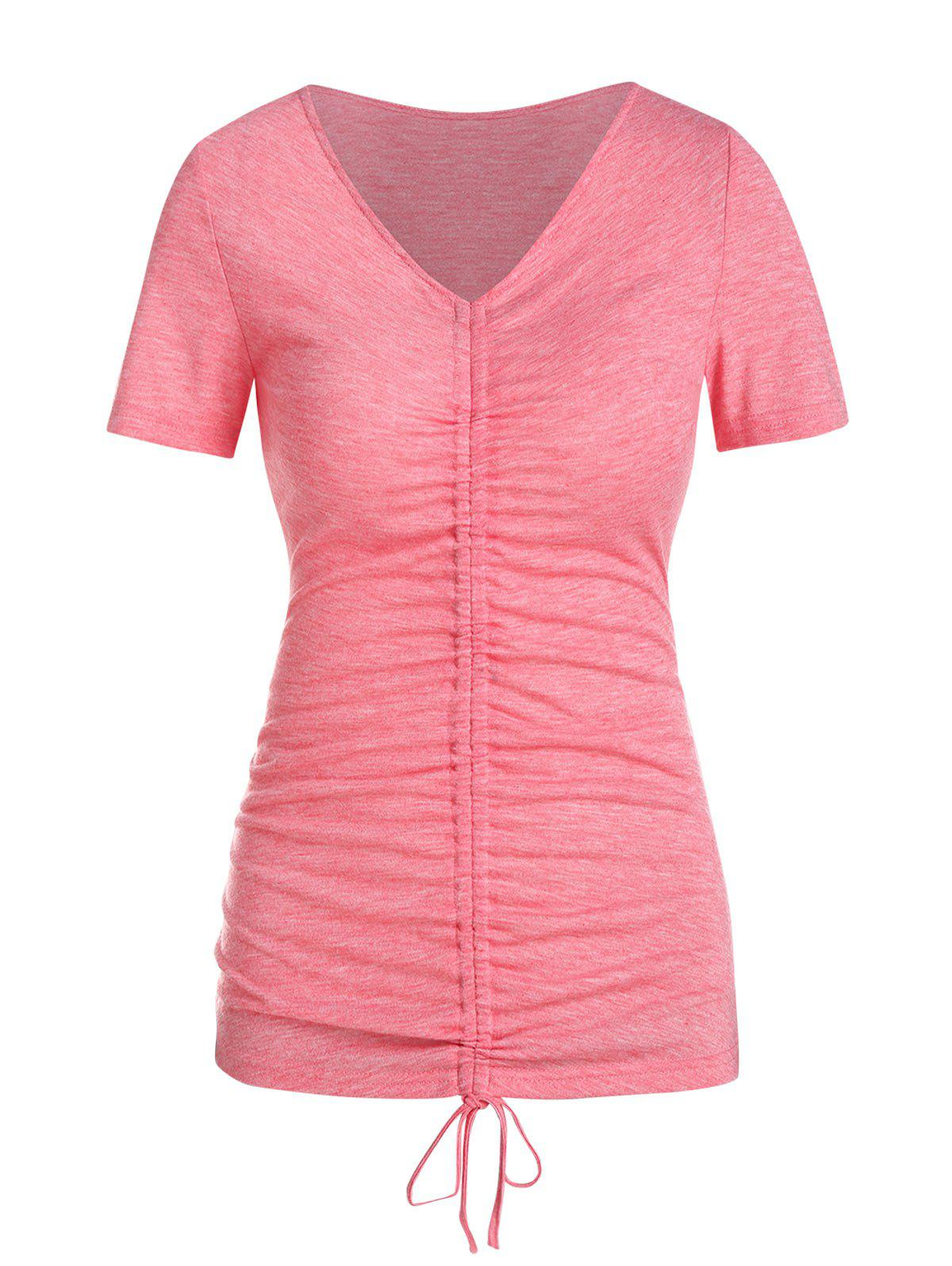 Trendy Short Sleeve Cinched Heathered T-shirt