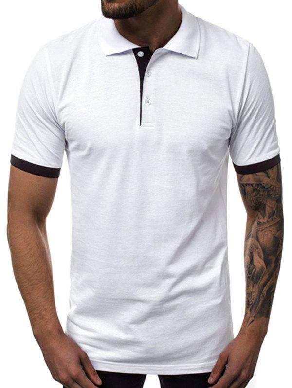 Outfits Contrast Trim Turn Down Collar Casual T Shirt