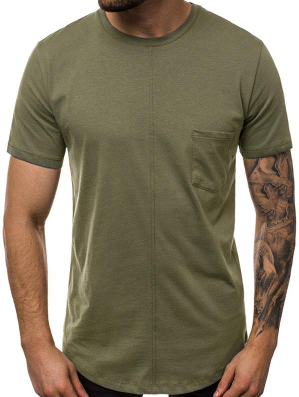 Sale Plain Pocket Crew Neck Short Sleeve T Shirt
