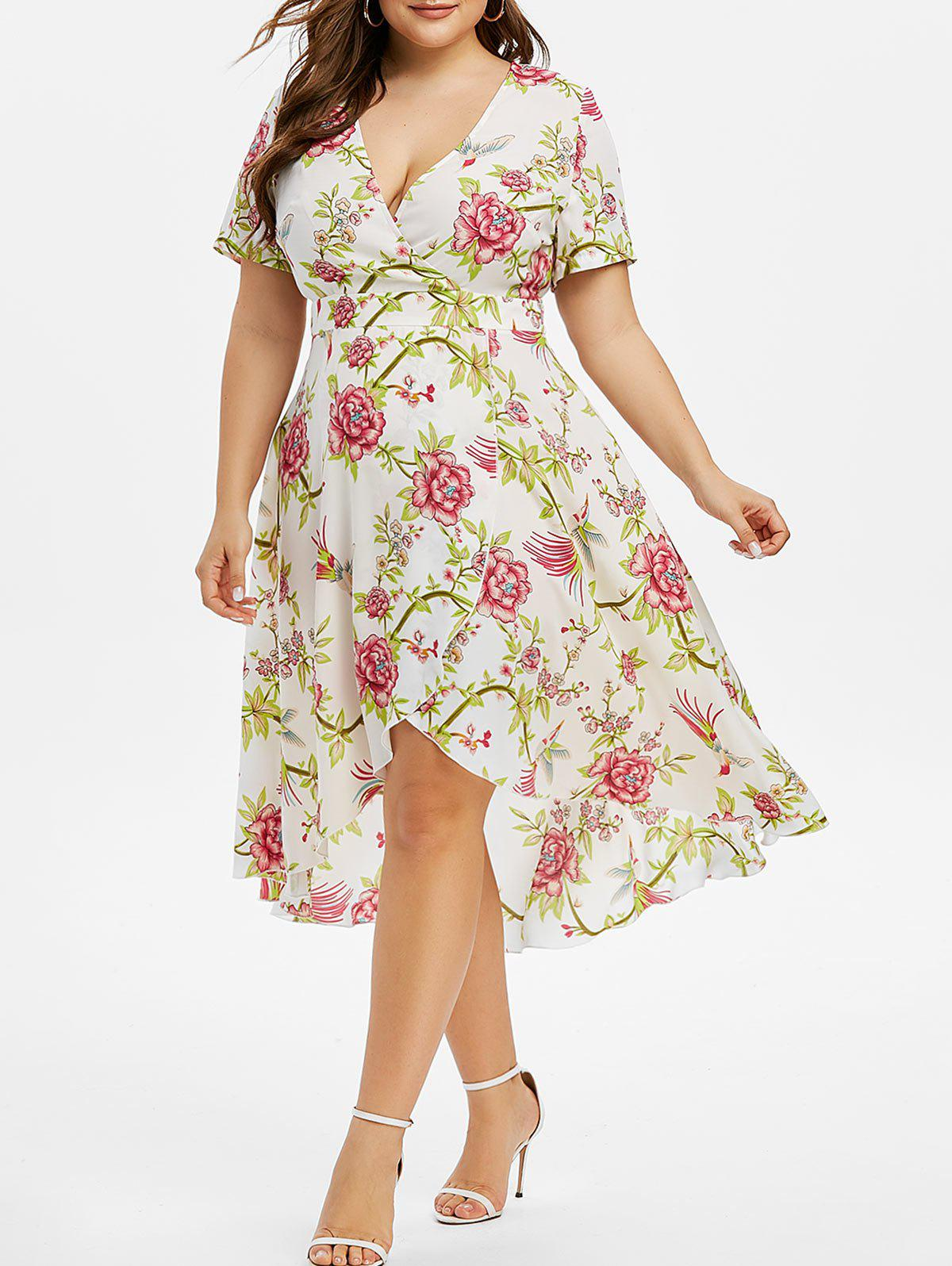 Plus Size Plunge High Low Floral Print Dress Rosegal