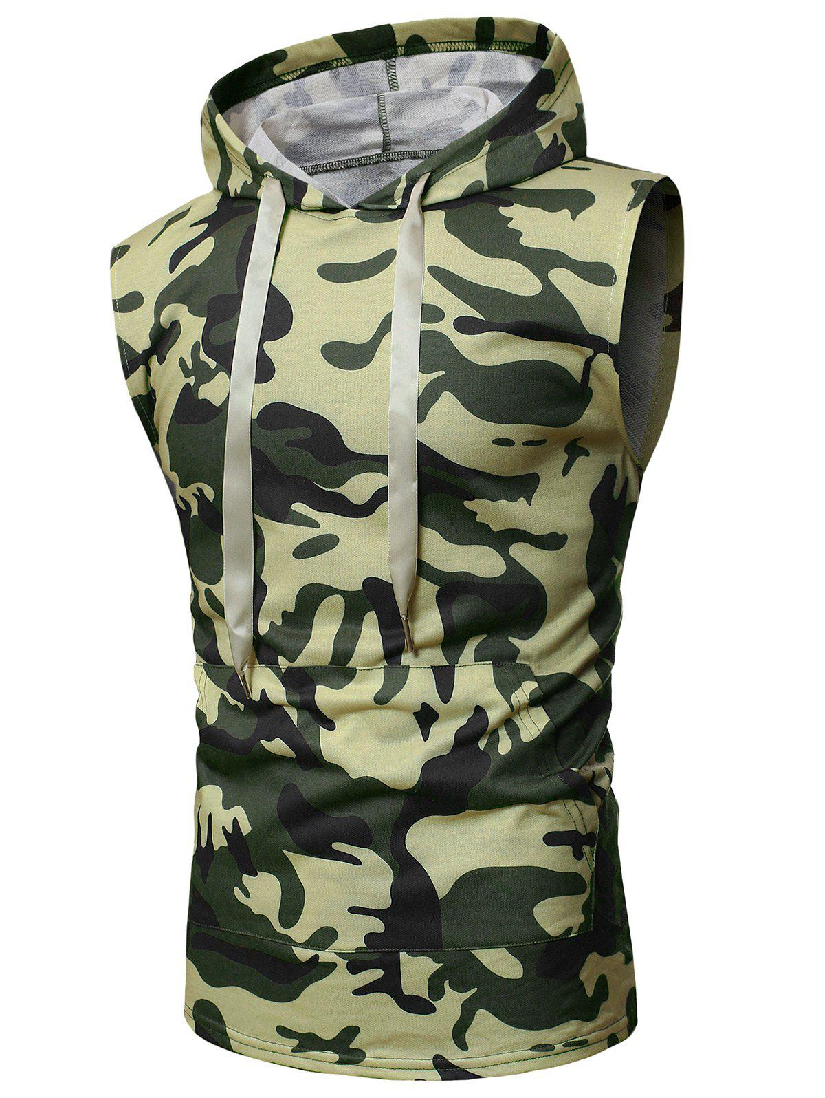 Shop Camouflage Print Back Zip Hooded Tank Top