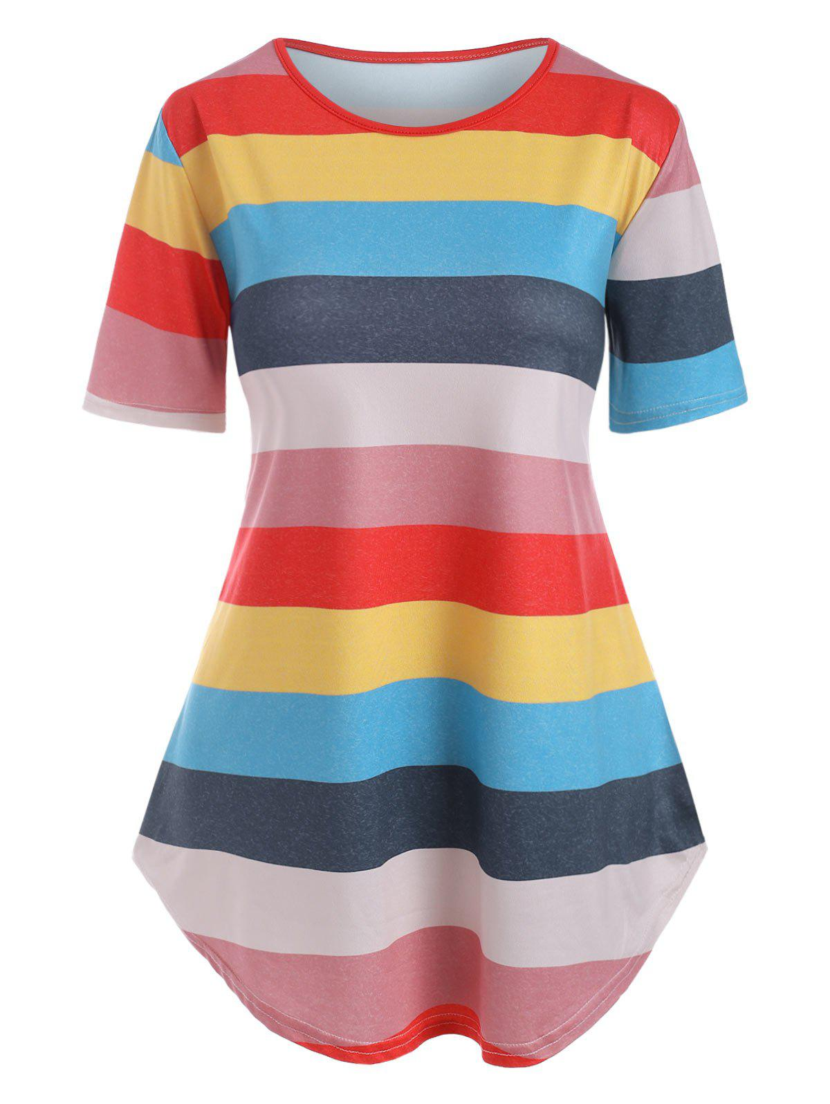 Cheap Colorful Stripes Curved Hem Tee