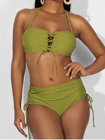 Lace Up Halter Tie High Rise Bikini Swimwear - PISTACHIO GREEN - S