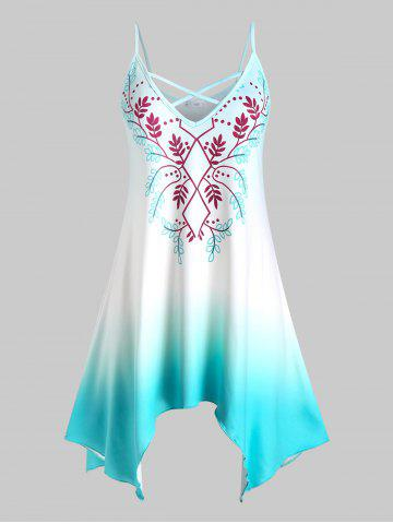 Plus Size Handkerchief Printed Ombre Color Tank Top