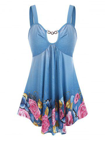 Butterfly Floral Print Chain Cut Out Tank Top - DENIM BLUE - S